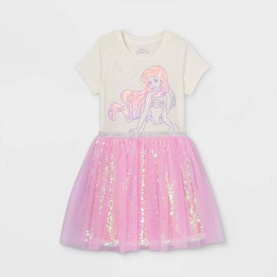 Girls' Disney Sparkly Ariel Tutu Dress - Ivory