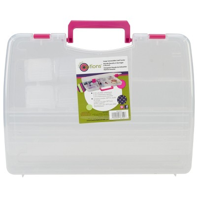 """Creative Options Pro Latch Connectable Satchel 5-22 Compart-14.75""""X2""""X11"""" Clear W/Magenta"""
