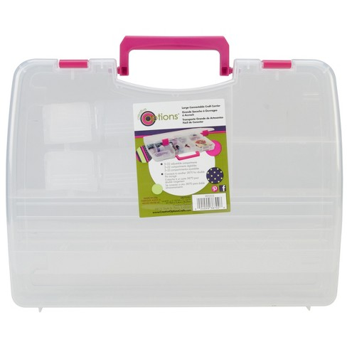 """Creative Options Pro Latch Connectable Satchel 5-22 Compart-14.75""""X2""""X11"""" Clear W/Magenta - image 1 of 3"""