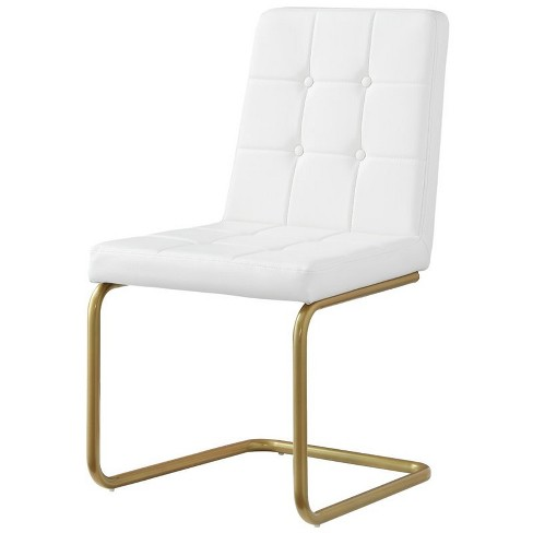 Jonathan White Leather Dining Chair - Set of 2 - Tufted - Gold Frame in White - Posh Living - image 1 of 3