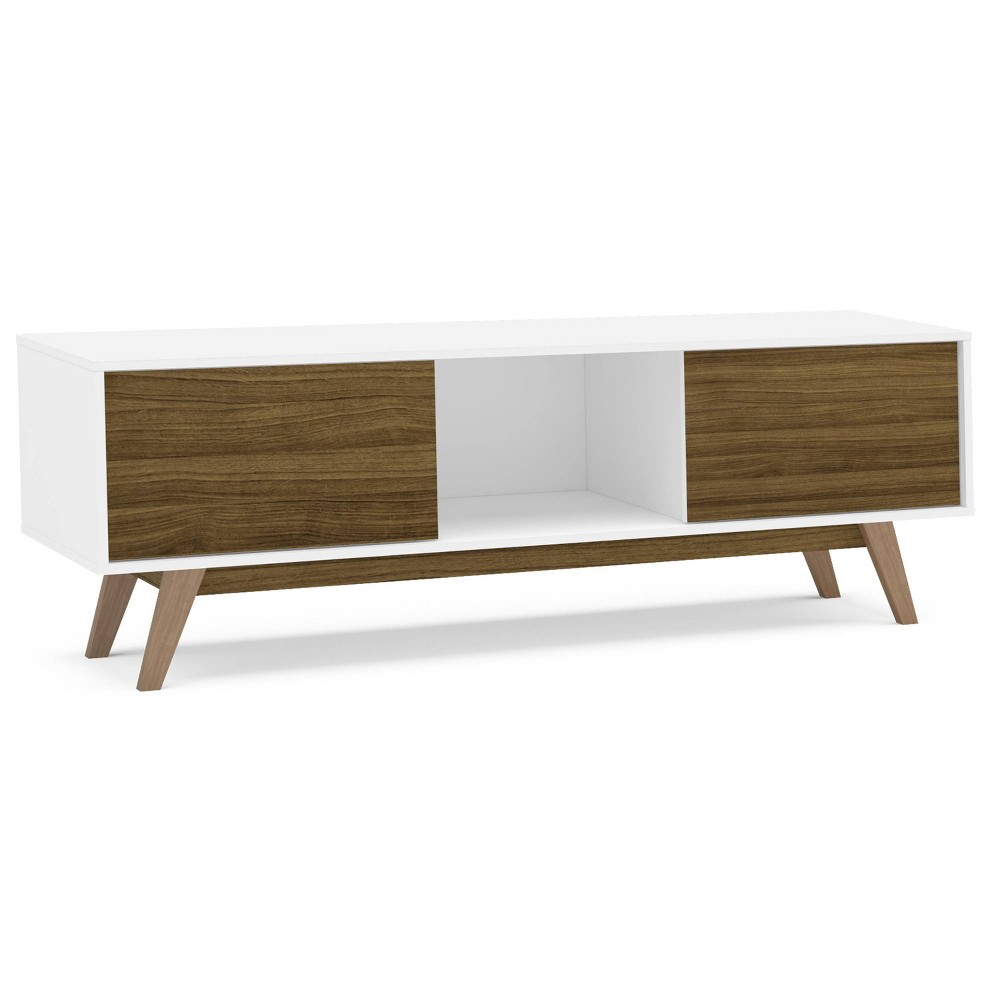 "Image of ""60"""" Burlington TV Stand - White/Walnut - Chique"""
