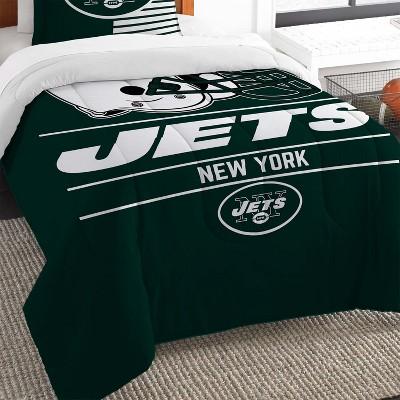 2pc NFL Twin Comforter and Pillow Sham Set Football Team Helmet Bedding - New York Jets..