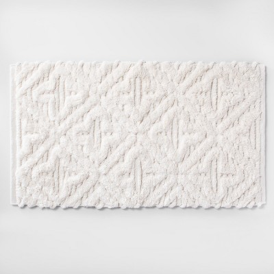 Textured Diamond Shag Bath Rug Cream - Opalhouse™