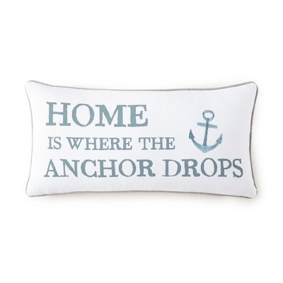 Provincetown Home Anchor Pillow - Teal and White - Levtex Home