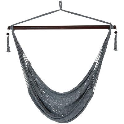 Hanging Caribbean XL Hammock Chair - Gray - Sunnydaze Decor