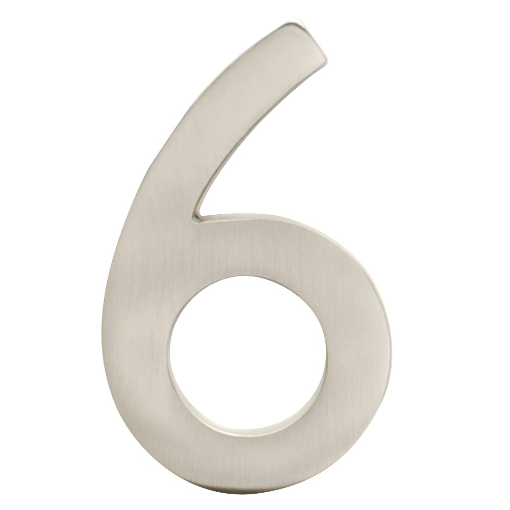 Architectural Mailbox 4 Cast Floating House Number 6 Satin Nickel