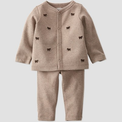 Baby 2pc Organic Cotton Schiffli Top and Bottom Set - little planet by carter's Brown