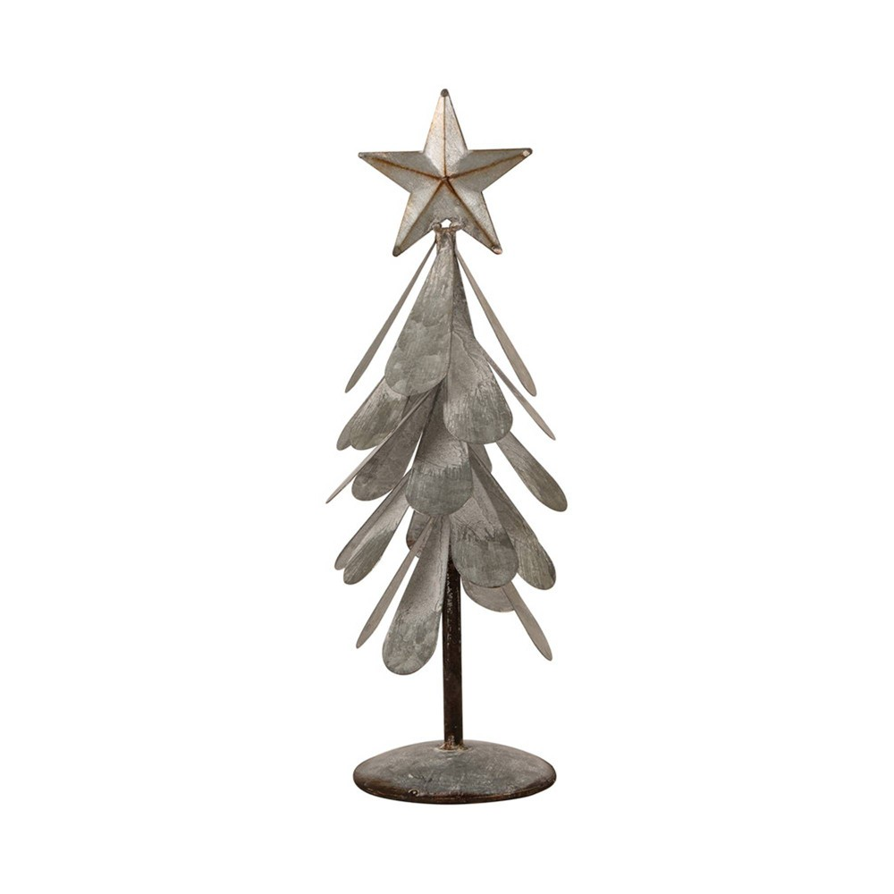 "Image of ""14.5"""" Galvanized Metal Christmas Table Tree Decor - Glitzhome"""