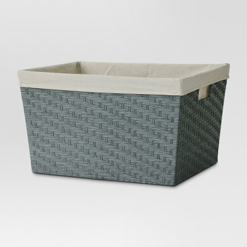 Lined Laundry Basket - Gray Weave - Threshold™ - image 1 of 1