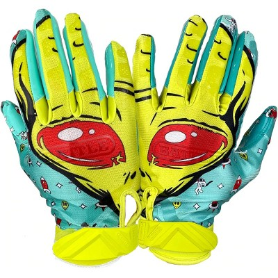 Battle Sports Science Alien Cloaked Youth Football Gloves - Turqouoise/Green