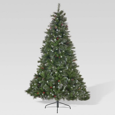 7ft Mixed Spruce Unlit Hinged Full Artificial Christmas Tree with Glitter Branches - Christopher Knight Home