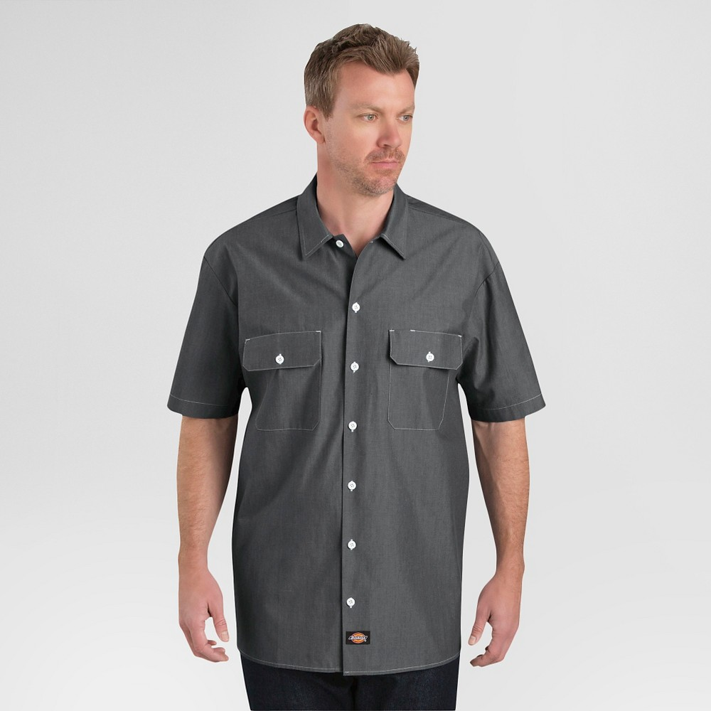Dickies Men's Relaxed Fit Chambray Short Sleeve Shirt- Navy Chambray M