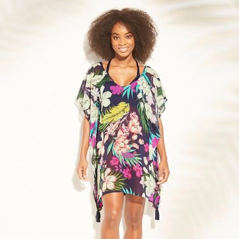 efd4b4b39a Women's Lattice Back Chiffon Kaftan Cover Up Dress - Kona Sol™ Navy ...
