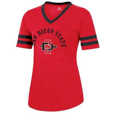NCAA San Diego State Aztecs Women's Short Sleeve V-Neck Heathered T-Shirt