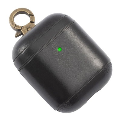 Insten Genuine Leather Case For Airpods 2 & 1 with Anti Loss Keychain Carrying Hook, Front LED Light Visible, Black