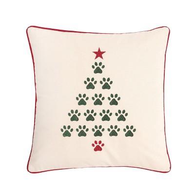 "C&F Home 18"" x 18"" Christmas Tree Paws Pillow"
