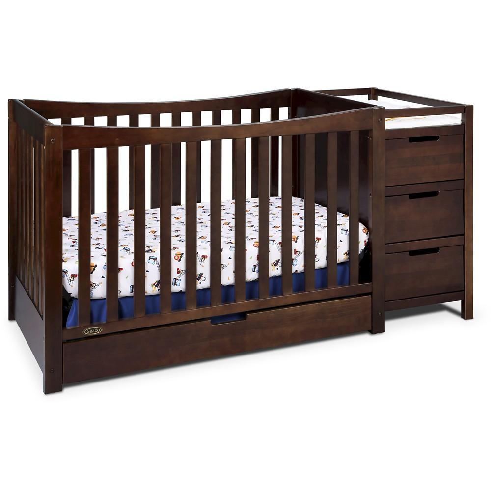 Image of Graco Remi 4-in-1 Convertible Crib and Changer - Espresso, Brown