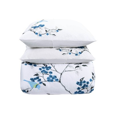 Modern Embroidered Cherry Blossom Floral Cotton Duvet Cover and Pillow Sham Set - Blue Nile Mills