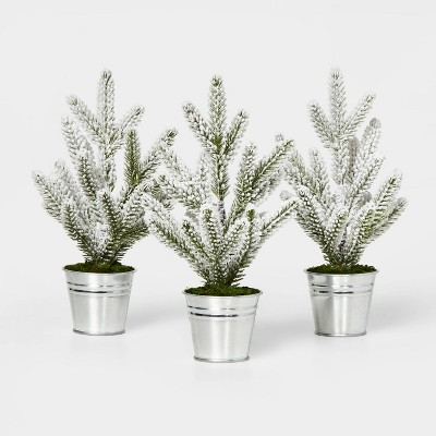 3pk Flocked Mini Tree in Galvanized Bucket Silver - Wondershop™