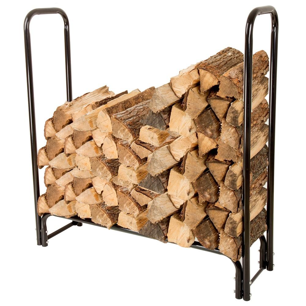 4' Firewood Log Rack - Black - Pure Garden