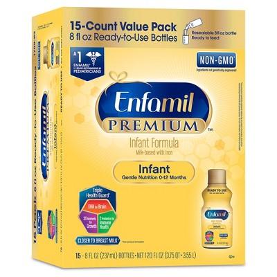 Enfamil Premium Non-GMO Ready-to-Feed Infant Formula - 8oz bottles (15ct)