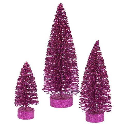"5"", 7"", 9"" Unlit Artificial Christmas Tree Glitter Oval Set Magenta - image 1 of 1"
