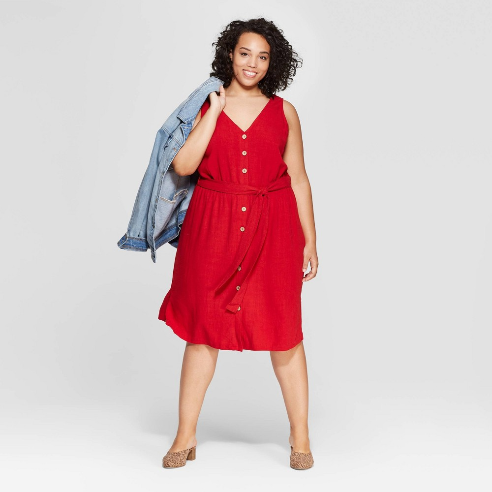 Women's Plus Size Sleeveless V-Neck Button Front Dress - Universal Thread Red X