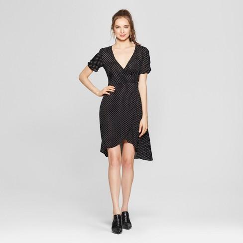 Womens Polka Dot Ruched Sleeve Wrap Dress Soul Cake Juniors