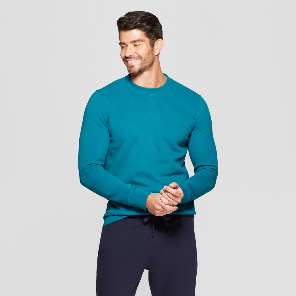 Men's Long Sleeve Standard Fit Fleece Pullover Sweatshirt - Goodfellow & Co Underseas Teal M