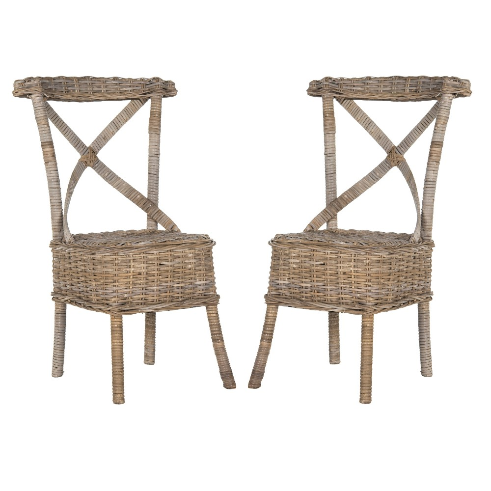 Katell Wicker Side Dining Chair (Set of 2) - Safavieh, Gray