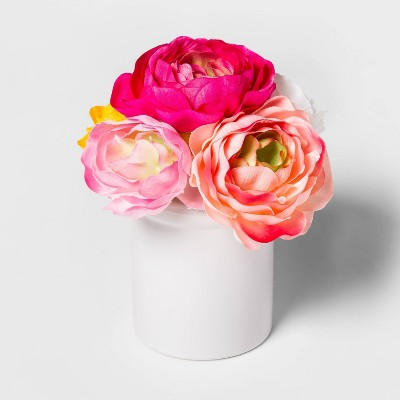 "8"" x 6"" Artificial Ranunculus in Ceramic Pot Pink/White - Threshold™"