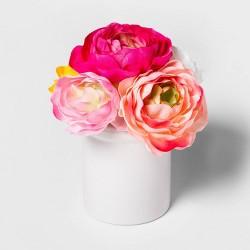 "8"" x 6"" Artificial Ranunculus in Ceramic Pot Pink/White - Threshold™"