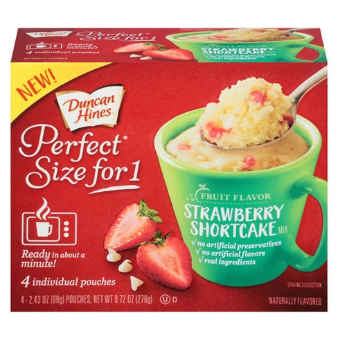 Duncan Hines Perfect Size for 1 Strawberry Shortcake Cake Mix - 9.72oz/4ct - image 1 of 1