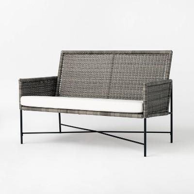 Wicker & Metal X Frame Patio Loveseat - Gray - Threshold™ designed with Studio McGee