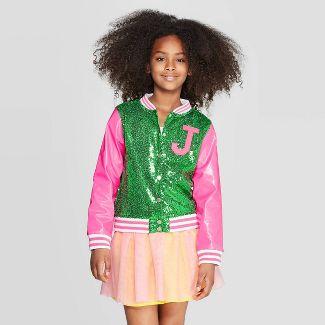 Girls' JoJo's Closet Track Jacket - Pink/Green L