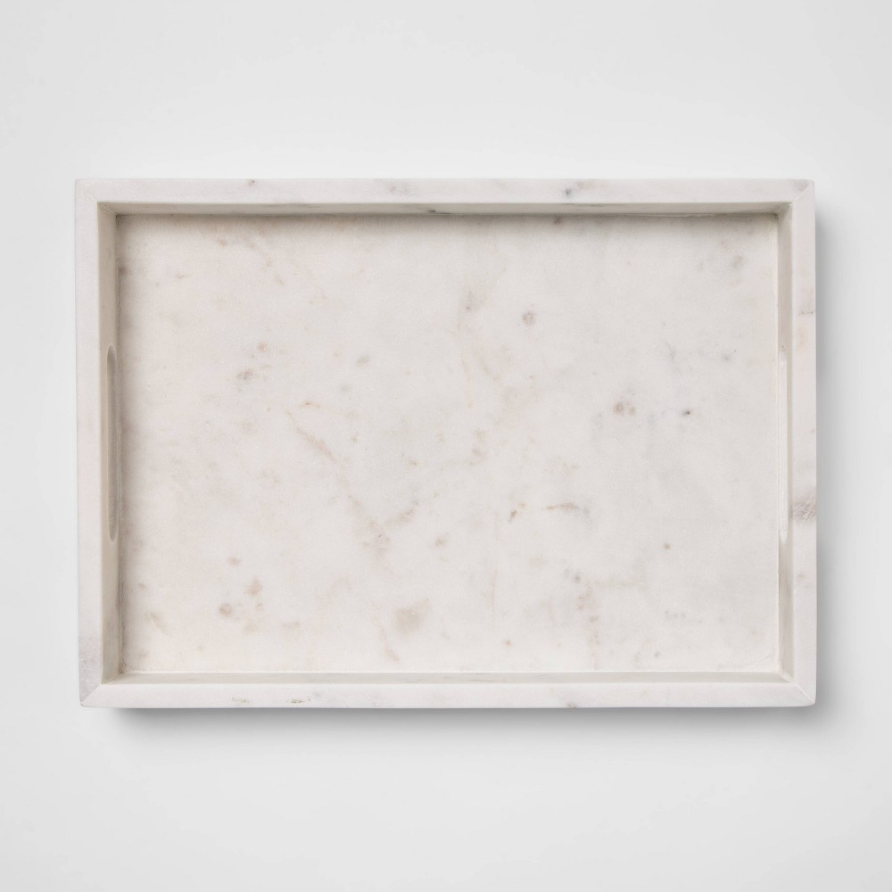 "Image of ""14"""" x 10"""" Decorative Marble Rectangle Tray White - Project 62"""