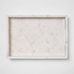 "14"" x 10"" Decorative Marble Rectangle Tray White - Project 62™"
