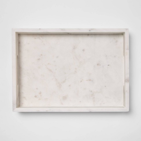 "14"" x 10"" Decorative Marble Rectangle Tray White - Project 62™ - image 1 of 3"