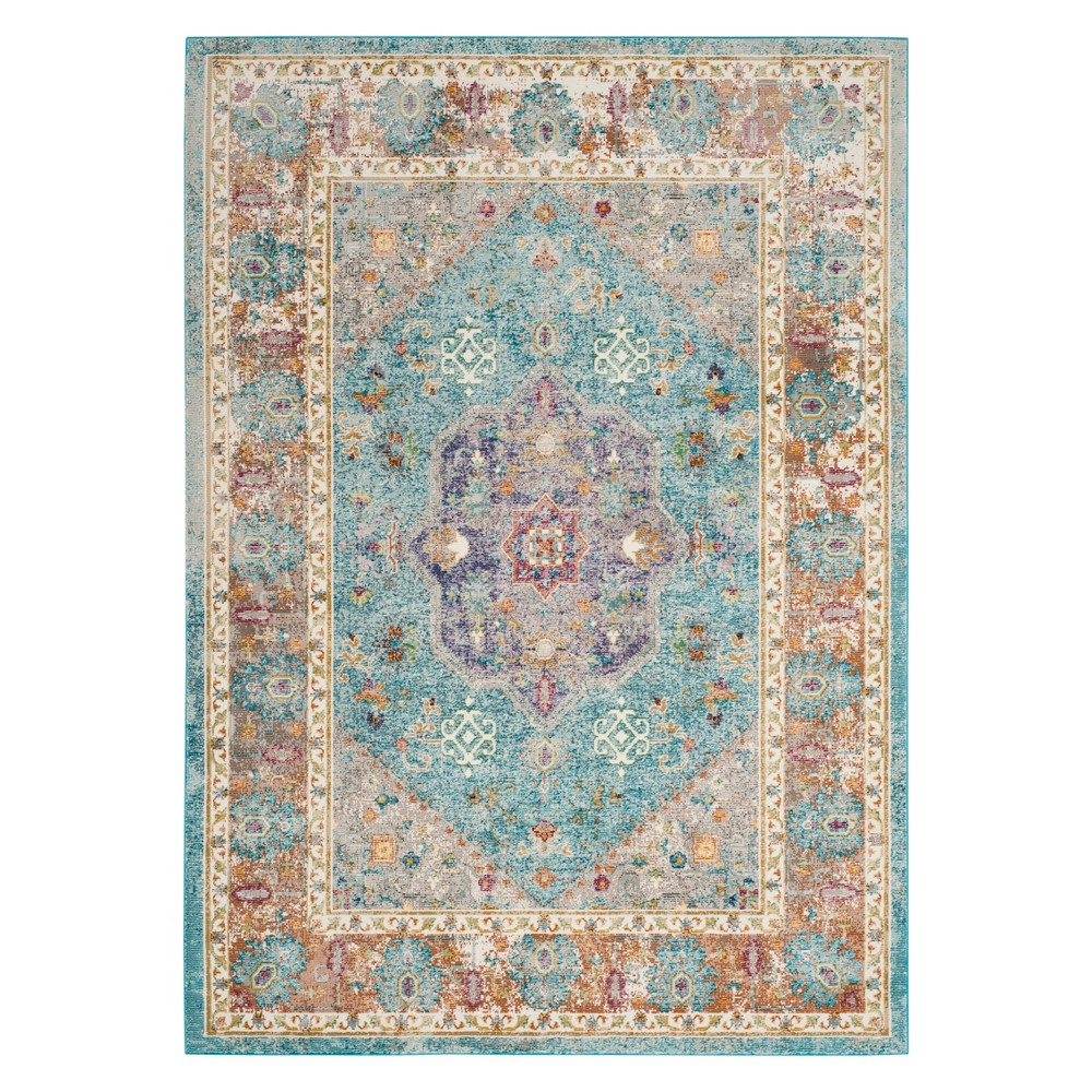 6'X9' Medallion Loomed Area Rug Blue/Cream - Safavieh, Off-White Blue