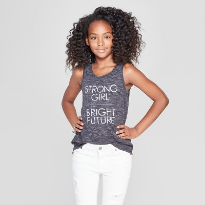 6e0bad03c5243 Girls   Strong Girl  Graphic Tank Top - Cat ...