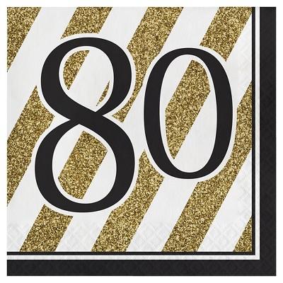 16ct Black & Gold 80th Birthday Napkins