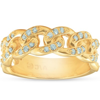 Pompeii3 1/2 Ct Mens Heavy Weight Solid Yellow Gold Curb Chain Diamond Ring Wedding Band