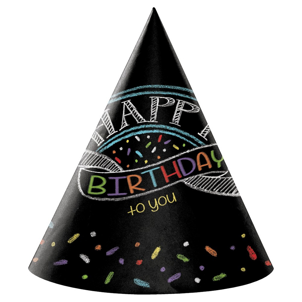 Image of 8ct Chalk Birthday Party Hats, Adult Size, Adult Unisex