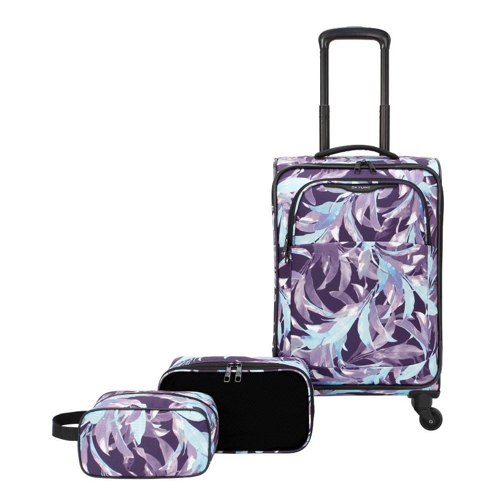 Skyline Softside 3pc Spinner Luggage Set Purple Leaves
