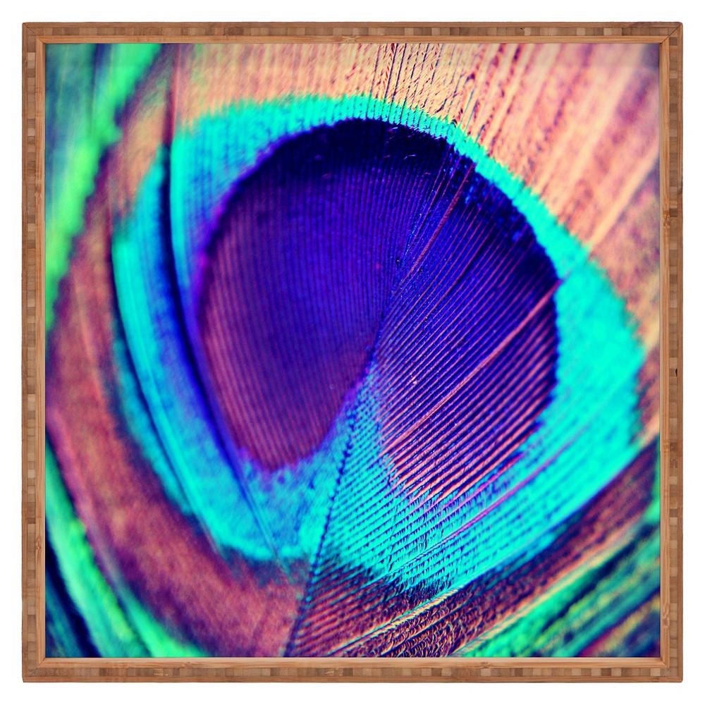 Shannon Clark Pretty Peacock Square Tray - Purple - Deny Designs, Bird Of Paradise