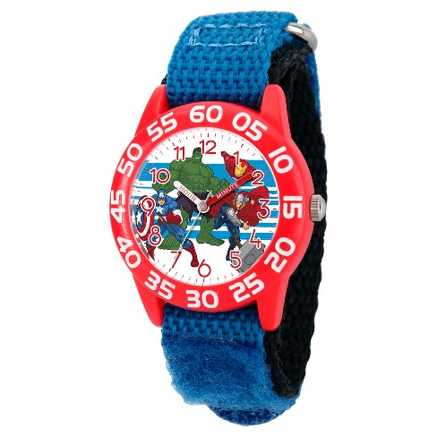 Boys' Marvel's Avengers Captain America-Hulk-Iron Man and Thor Red Plastic Watch - Blue - image 1 of 2