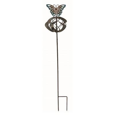 Transpac Metal 28 in. Bronze Spring Kinetic Butterfly Yard Stake