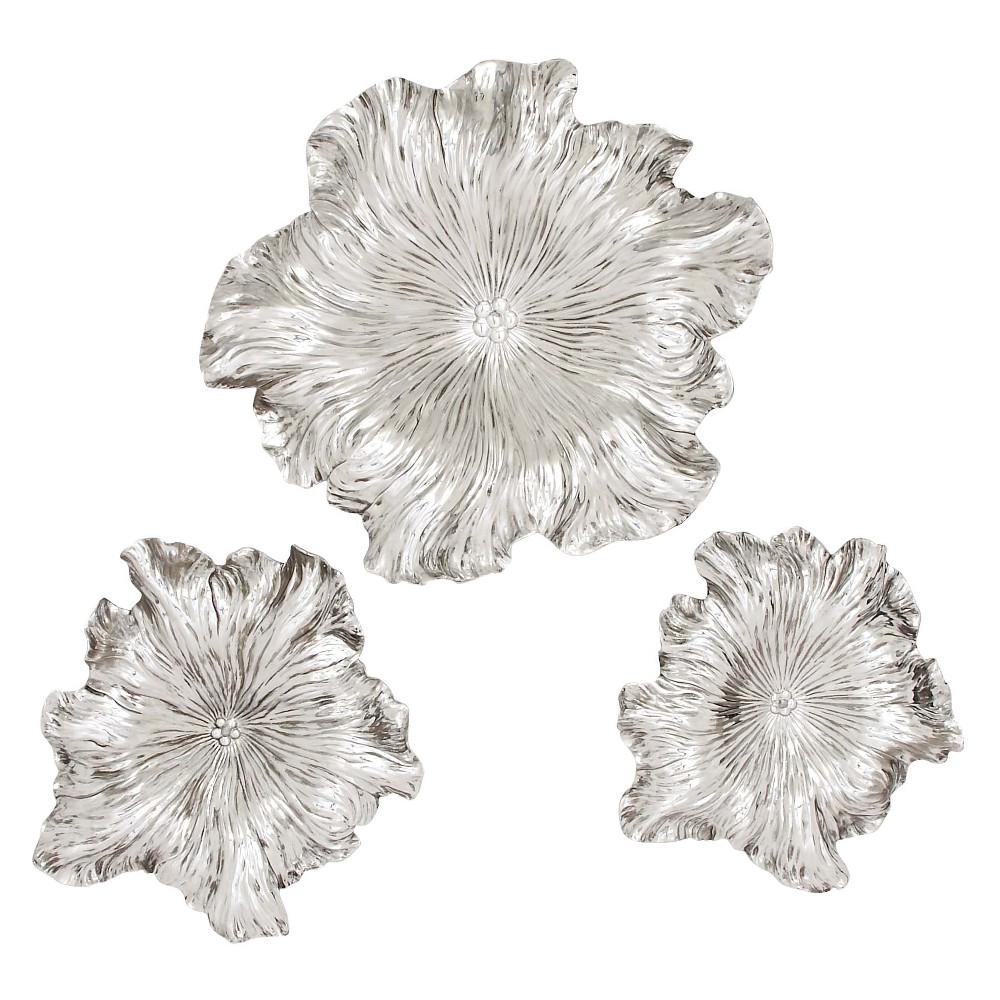 Resin Wall Flower 24 X 24 (Set of 3) - Olivia & May, Silver