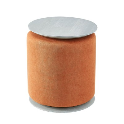 MHF Accent Table with Nesting Lightweight Ottoman, Round Footstool (2-Piece Set)