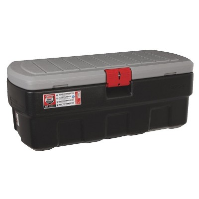 Rubbermaid 48 Gallon Black Action Packer Lockable Latch Indoor and Outdoor Storage Box Container for Home, Garage, Backyard, (Single)